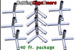 Batting Cage Baseball Softball FRAME KIT 40 Ft. 1 3/8 IN. FITTINGS NEW