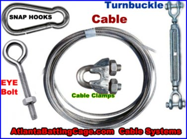 40 ft. Batting cage indoor / outdoor cable system