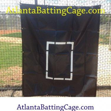 Batting cage net saver with strike zone size 5x5 ft.