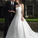 Satin Halter embroidery white chapel train wedding dress/bridal dress wed908
