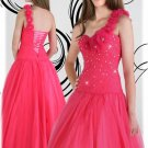 pink one shoulder flora ball gown beaded tulles evening dress/formal prom gown