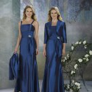 Spaghetti Strap  royal taffeta long mother of the bride dress with jacket