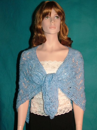 KNC Hand Knit Bell Stitch Shawl OOAK Exclusive Sky