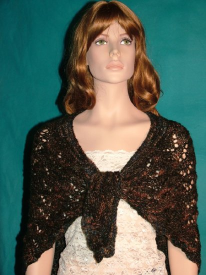 KNC Hand Knit Bell Stitch Shawl OOAK Exclusive Forest Mohair Mix