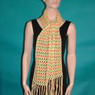 KNC Hand Crochet  Lacey Bubble Stitch Scarf Maize-Tangerine-Olive