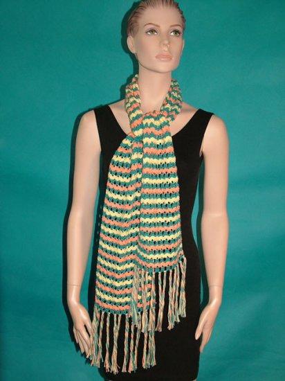 KNC Hand Crochet Lacey Bubble Stitch Scarf Maize-Teal-Tangerine