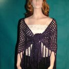 KNC Hand Crochet Shawl Wool & Rayon Mix OOAK