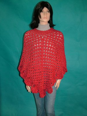 KNC Coming Home Hand Crochet Poncho Covered Bridge Red Sz S-M