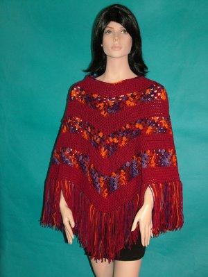 KNC  Hand Crochet Classic Shell Poncho Berries