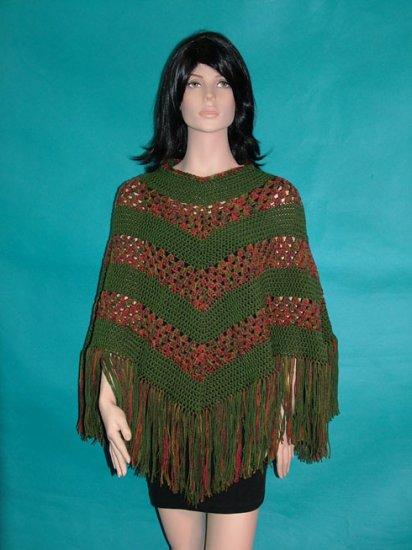 KNC Hand Crochet Classic Shell Poncho Farmland