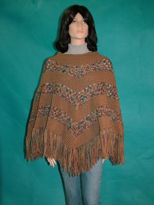 KNC Hand Crochet Classic Shell Poncho Painted Desert