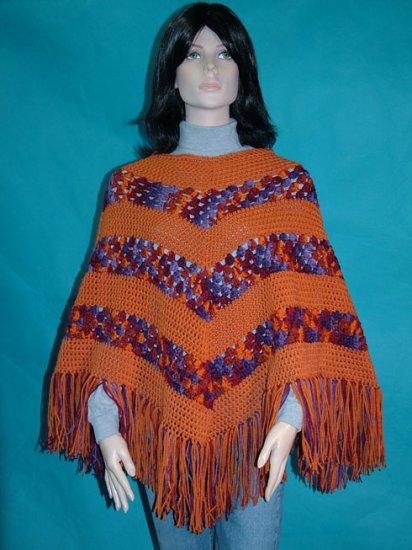 KNC Hand Crochet Classic Shell Poncho Carrot