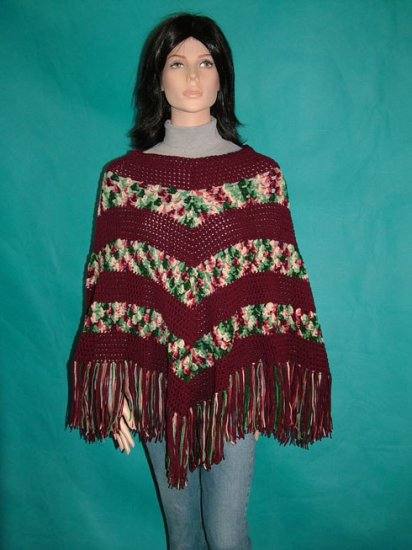 KNC Hand Crochet Classic Shell Poncho Holly and Ivy