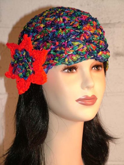 KNC Hand Crochet Ribbon 'n Rose Cloche Carnival