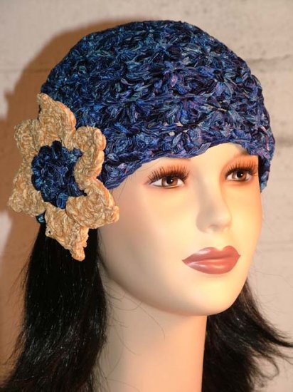 KNC Hand Crochet Ribbon 'n Rose Cloche Blue Shades