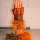 KNC Hand Knit Homespun Fur Wrist Warmers Harvest