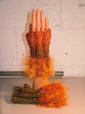 KNC Hand Knit Homespun Fur Wrist Warmers Harvest