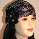 KNC Hand Crochet Ribbon 'n Rose Cloche Accent Black