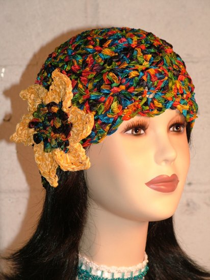KNC Hand Crochet Ribbon 'n Rose Cloche City Lights