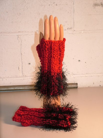 KNC Hand Knit  Fur Wrist Warmers Candy Apple