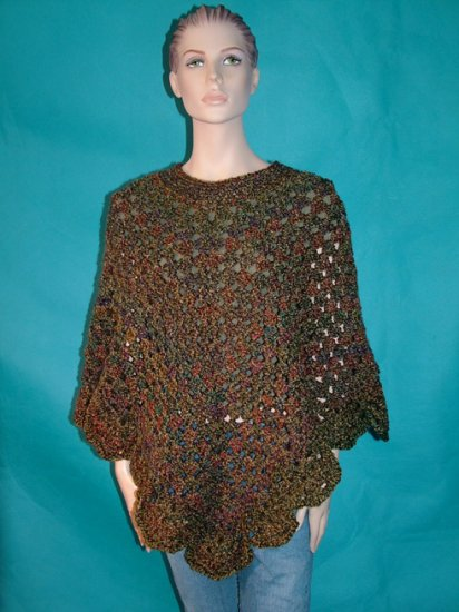 KNC Coming Home Hand Crochet Poncho Prarie Sz S-M