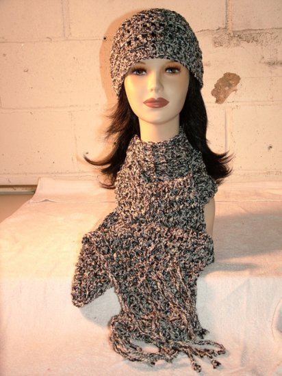 KNC Hand Crochet  Cotton Mix Hat-Scarf Set Zebra