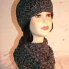 KNC Hand Crochet  Cotton Mix Hat-Scarf Set Atlantis