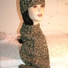 KNC Hand Crochet  Cotton Mix Hat-Scarf Set Parsley