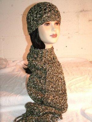 KNC Hand Crochet  Cotton Mix Hat-Scarf Set Parsley
