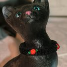 KNC KittyWear Crochet Beaded Cat Collar Midnight Rose