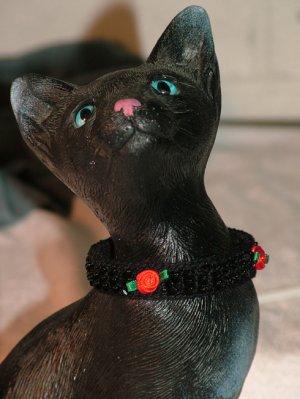 KNC KittyWear Crochet Beaded Cat Collar Midnight Rose