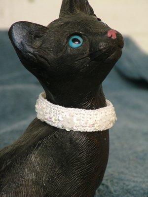 KNC KittyWear Crochet Beaded Cat Collar Pure White