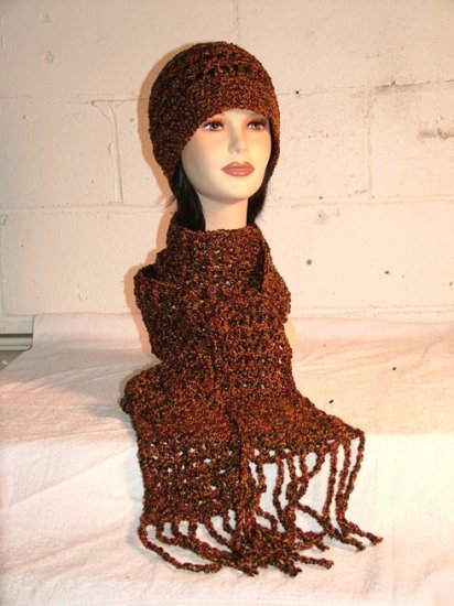 KNC Hand Crochet Cotton Mix Hat-Scarf Set Spice