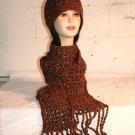 KNC Hand Crochet Cotton Mix Hat-Scarf Set Spice