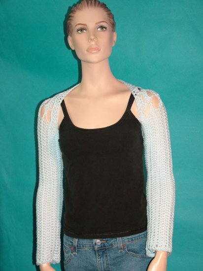 KNC Hand Crochet Caney Shrug Powder Blue
