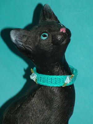 KNC KittyWear Beaded Crochet Cat Collar Roses