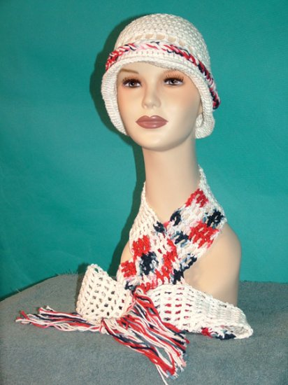 KNC Crochet Cotton Hat-Scarf Set RedWhiteBlue