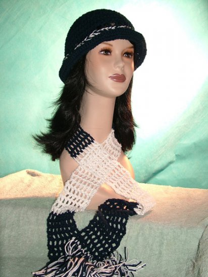 KNC Crochet Cotton Hat-Scarf Set WhiteNavy