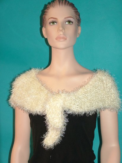 KNC Hand Knit Evening Fur Capelet Cream Glitter