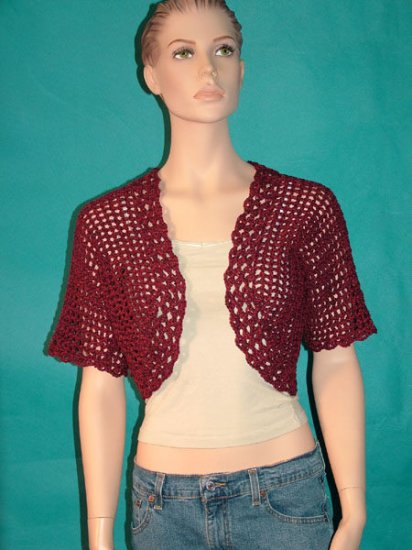 KNC Hand Crochet Shell Bolero Cranberry Marl Sz Small