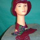 KNC Crochet Cotton Hat-Scarf Set Wine Mix