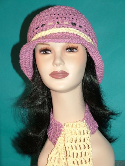 KNC Crochet Cotton Hat-Scarf Set MauveCream