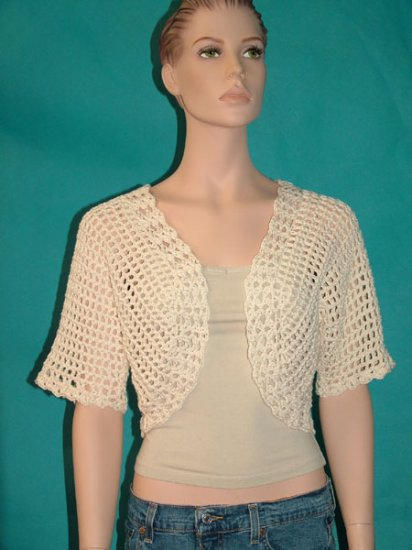 KNC Hand Crochet Shell Bolero Milk Sz Small