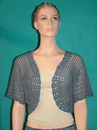 KNC Hand Crochet Shell Bolero Chambray Sz Small