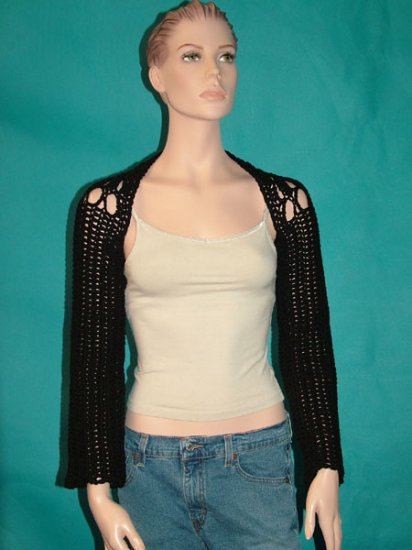 KNC Hand Crochet Caney Shrug Black Sz Small