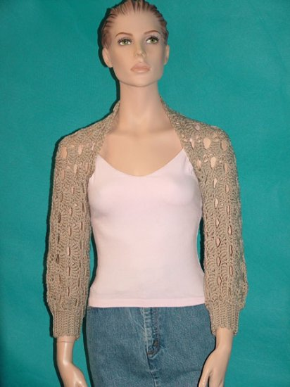 KNC Hand Crochet Shelly Shrug - Linen Sz S-M