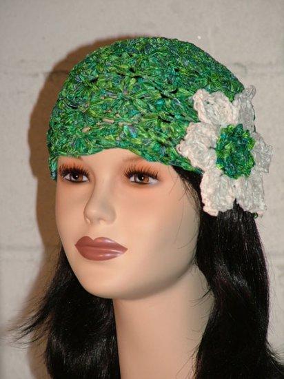 KNC Hand Crochet Ribbon 'n Rose Cloche Emerald Isle