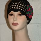KNC Hand Crochet Skull Cap w Flower Pin Black  Sz Teen