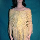 KNC Hand Crochet Jungle Rose Poncho Wool Mix - Pastel Yellow