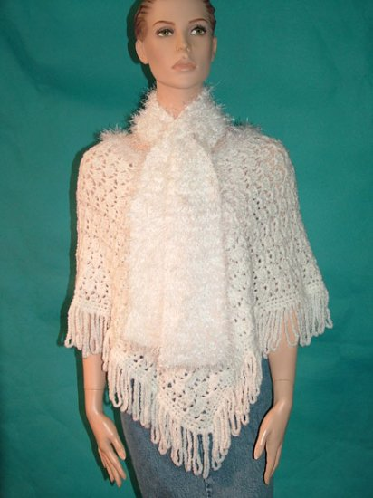 KNC Hand Crochet Plush-Fur Poncho w Hand Knit Plush-Fur Scarf  White